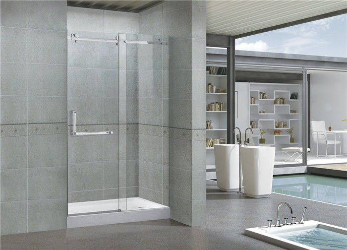 8MM Self - Cleaning Frameless Shower Enclosures Tempered Glass Sliding CE / SGCC Certification