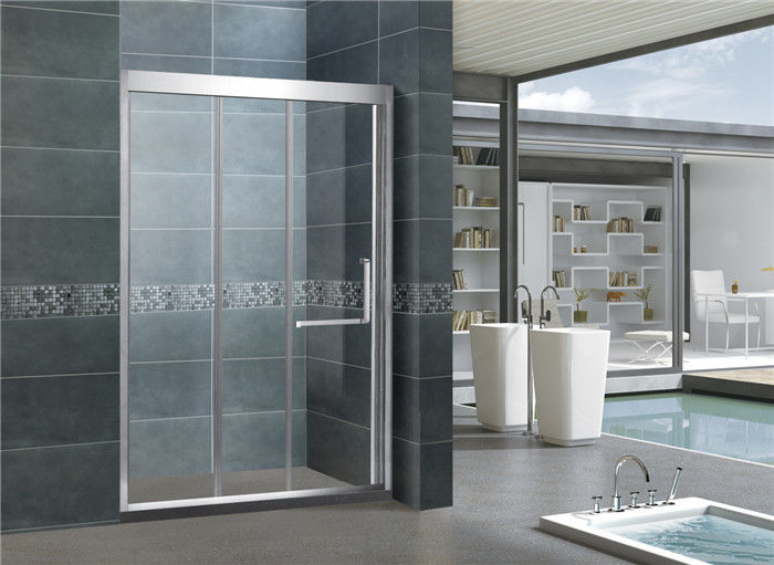 Stainless Steel Double Sliding Glass Shower Screens Nano Tempered Glass CE Certification