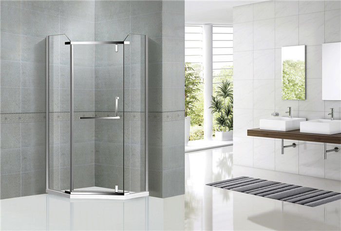Diamond Shape Stainless Steel Pivot Glass Shower Door Nano Tempered Glass For Hotel