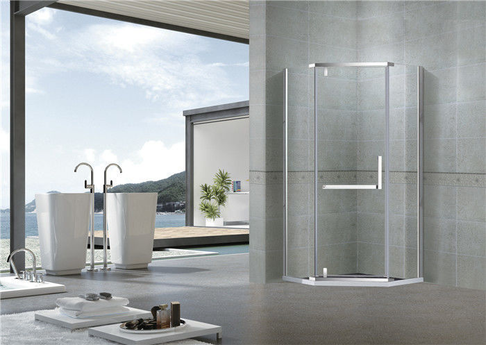 Mirror Color Pivot Shower Doors Diamond Type Clear Tempered Glass L Shape Handle