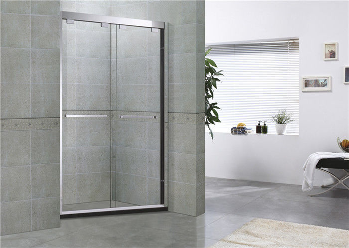 Clear Double Sliding Glass Shower Doors With Double Long Hole Distance Handles for Home