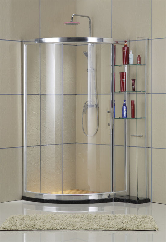 Frosted Tempered Glass D Shaped Shower Enclosure Aluminum Alloy With Shelf Outside