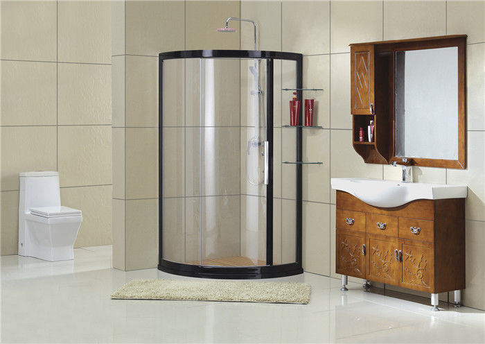 Black Aluminum Alloy Framed Shower Boxes Tempered Glass CE Certification with Shelf