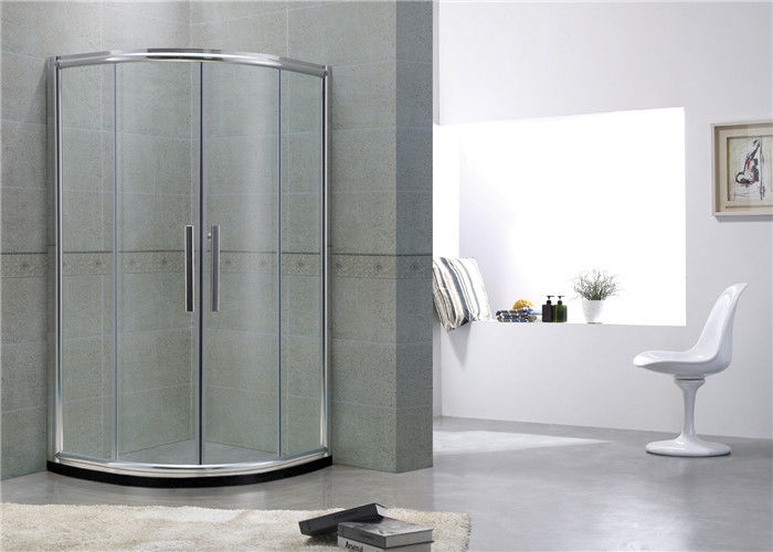 Bright Silver Curve Shower Partitions Aluminum Alloy Two sliding Clear Tempered Glass