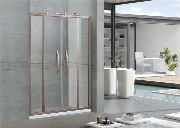 Screen Sliding 6 MM Glass Shower Doors With Rose Golden Outside Wheels for Home / Apartment