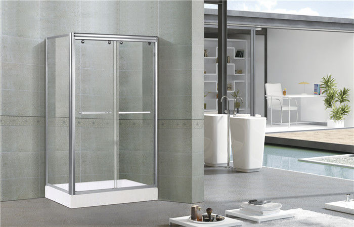 Bright Silver Full Aluminum Alloy Shower Stall Enclosures One Fixed Panel For Apartment
