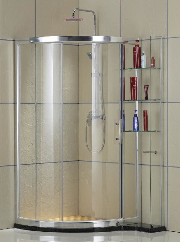 Clear Tempered Glass D Shaped Shower Stall Bright Silver Aluminum Alloy With Shelf Outside