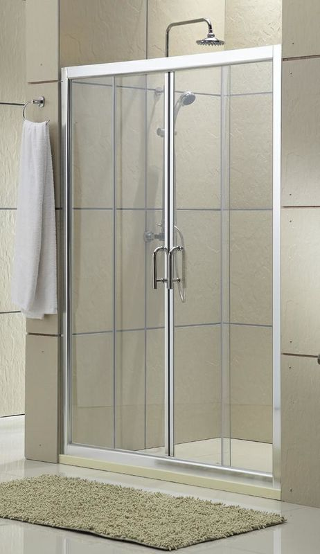 Clear Glass Shower Stall Sliding Glass Doors Chromed Aluminum Profiles CSI Certification
