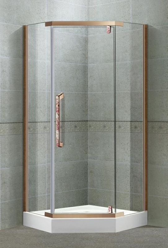Self - Cleaning Tempered Glass Shower Doors Pivot With Stainless Steel Profiles Rose Golden