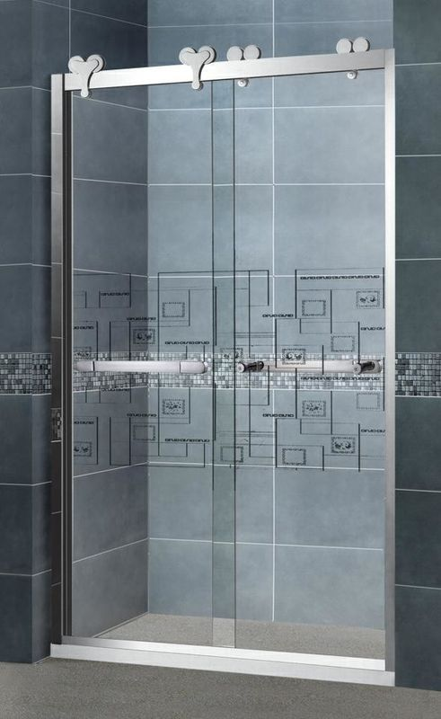 Inline Clear Tempered Glass Shower Screens with 304 Stainless Steel Frames and Outside Wheels